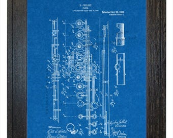 Framed Patent Art - Flute WITH Real Rustic Wood Frame - Framed Patent Print