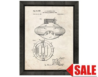 Self-propelled Submersible Vessel Patent Print Poster - 1963 - Historical Vintage Wall Art - Great Gift Idea