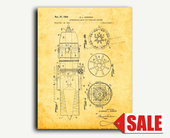 Patent Art - Afterburning Means For Turbo-jet Engines Patent Wall Art Print