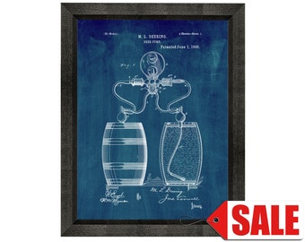 Beer Pump Patent Print Poster - 1886 - Historical Vintage Wall Art - Great Gift Idea