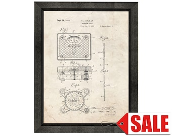 Bathroom Scale Patent Print Poster - 1933 - Historical Vintage Wall Art - Great Gift Idea