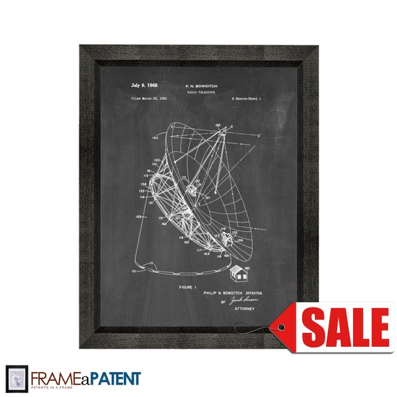 1961 Bowditch Radio Telescope Patent Print Art Drawing Poster 18X24