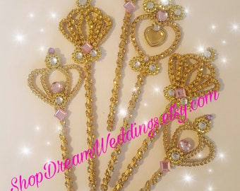 Set of 6- princess wands, princess party,Birthdays, rhinestones wants ,gold wands