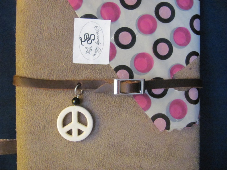 Brown Leather Choker Necklace with Peace Sign
