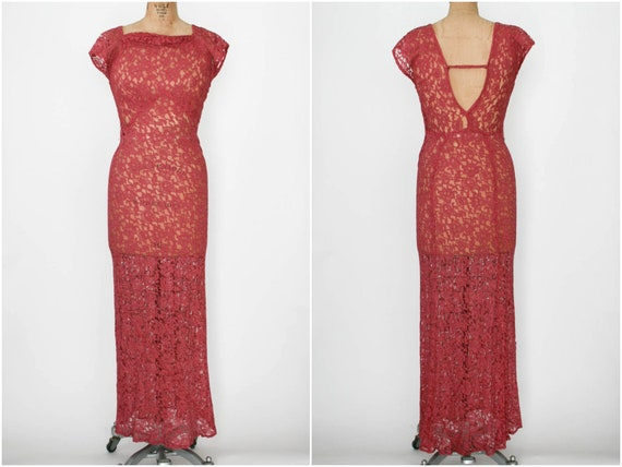 1930s Raspberry Lace Gown