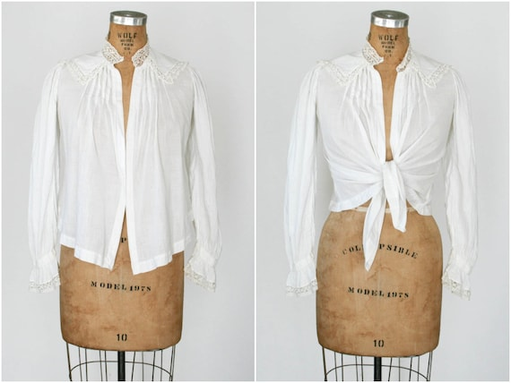 Antique White Cotton Open Blouse
