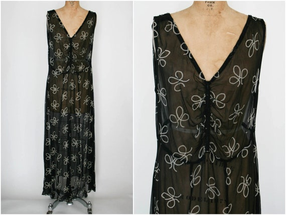 1930s Black Chiffon Gown with White Print