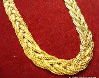 Vintage Shiny Gold Tone Braided Mesh Chain Fashion Necklace 2 Clasps 2 Lengths