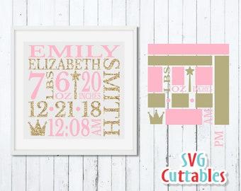 Birth Announcement Svg Etsy