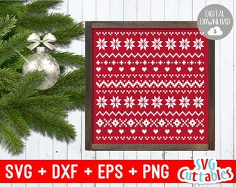christmas sweater pattern svg cut file svg eps dxf png winter sweater pattern ugly silhouette cricut digital file