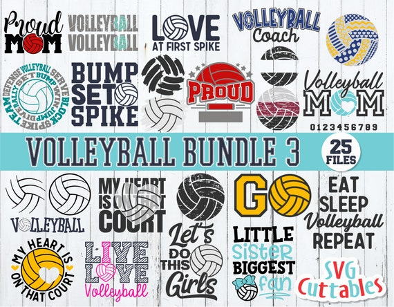 Volleyball Bundle 3 Svg Volleyball Svg Volleyball Cut File Etsy