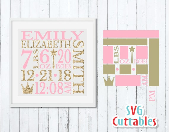 Baby Birth Announcement Svg Dxf Eps Baby Stats Metric Etsy