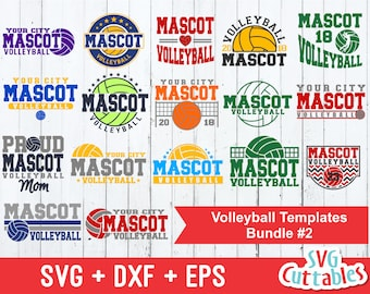 Volleyball svg Bundle, Volleyball Cut File, Template Bundle #2, svg, eps, dxf, Volleyball Mom, Silhouette, Cricut Cut File, Digital Download