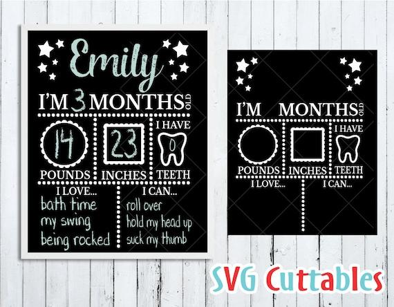 Baby Milestone Board Svg Milestone Svg Baby Svg Dxf Eps Etsy