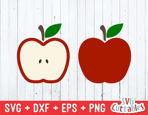 Apple Svg Apple Cut File Apple Half Teacher Svg Svg Etsy