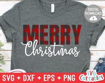 Merry Christmas svg - Christmas svg - Cut File - svg - eps - dxf - png - Buffalo Plaid - Plaid - Silhouette - Cricut file - Digital File
