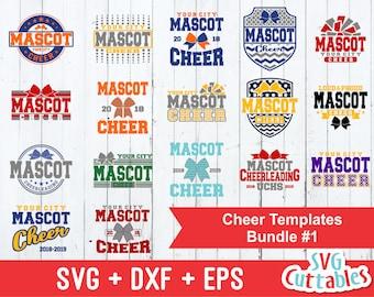 Cheer svg bundle, Cheer template bundle #1 , svg, eps, dxf, Cheer team, Cheerleader, Silhouette, Cricut cut file, digital download