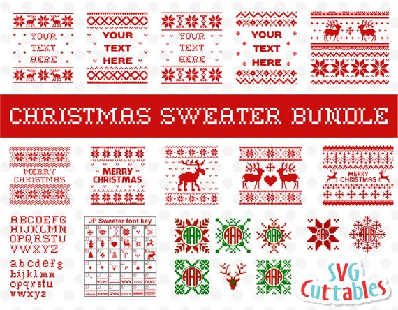 Christmas Sweater Bundle Svg Ugly Sweater Merry Christmas Svg Cut File Svg Dxf Eps Silhouette File Cricut File Digital File