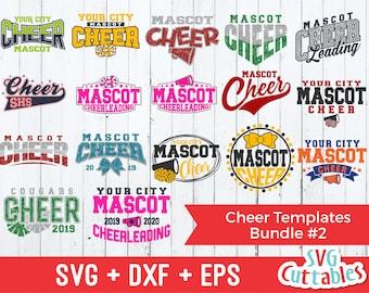 Cheer svg Bundle - Cheer Template Bundle #2 - svg - eps - dxf - Cheer Team - Cheerleader - Silhouette - Cricut Cut File - Digital Download
