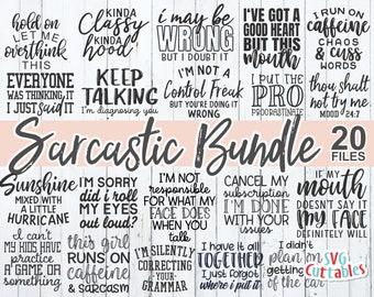 Sarcastic Bundle svg - Sarcastic Cut File - Funny - Quote - svg - svg - dxf - eps - png - Silhouette - Cricut - Digital File