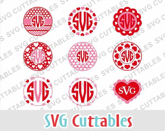 Valentine Svg Valentines Day Svg Heart Monogram Frame Svg Etsy