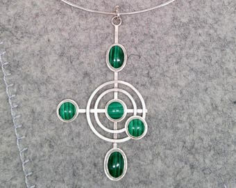 Luxury Malachite Silver Pendant with Neck Ring