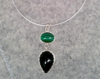 Black Onyx and Malachite Sterling Silver Pendant with Neck Ring