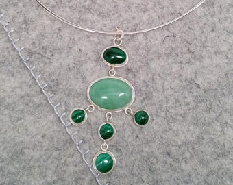 Green Aventurine and Malachite Silver Pendant with Neck Ring