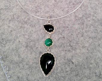 Malachite and Black Onyx Sterling Silver Pendant with Neck Ring