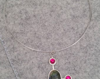 Labradorite and  Lab Created Ruby Silver Pendant with Neck Ring