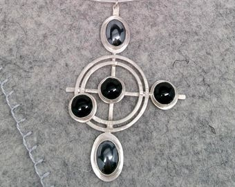 Black Onyx and Hematite Silver Pendant with Neck Ring-Work Sample Sale