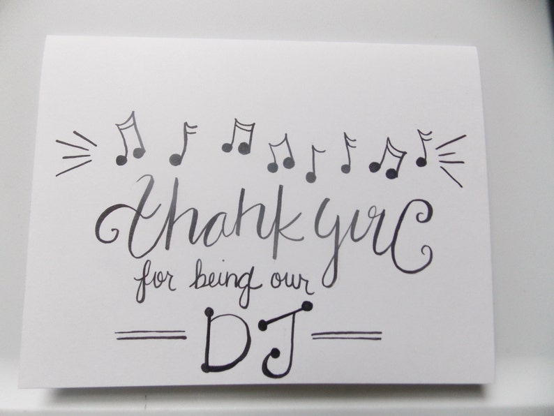 thank you for being our dj wedding thank you card dj thank