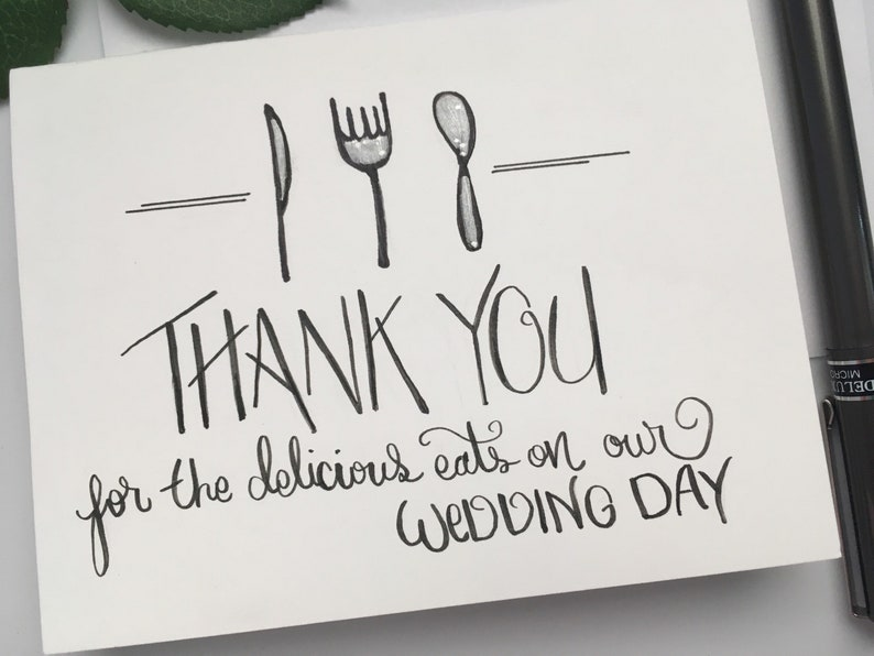 Wedding Cake Wedding Chef Food Thank You Card Thank You for Being our Caterer Thank you for the delicious eats on our wedding day