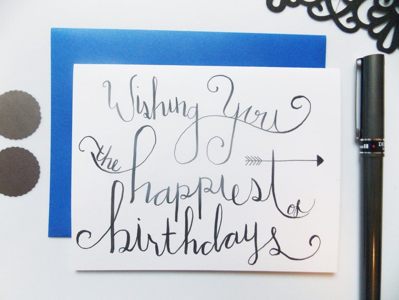 Birthday Card Happy Calligraphy