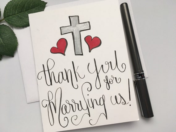 Thank You For Marrying Us Card Officiant Thank You Card Wedding Thank You Card Priest Pastor Thank You Card Card For Officiant