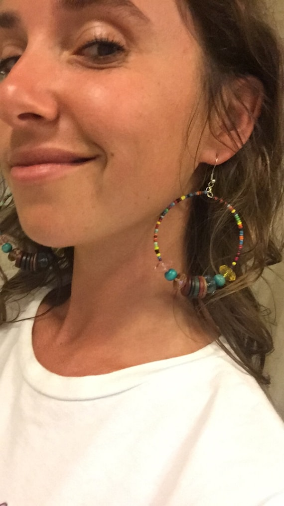 Colorful Boho Beaded Hoop Earrings - Statement Jew