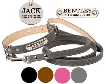 Leather Dog Collar, Personalized Dog Collar, Dog Collar and Leash, Nameplate Dog Collar