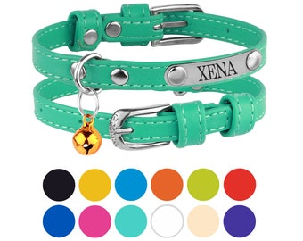 Leather Cat Collar Personalized Kitten Collars with Bell Engraved ID Pet Tag Optional Pink Red Blue Purple Orange
