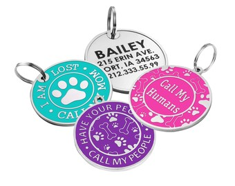 Dog Tag Personalized, Custom Engraved Dog Tags, Dog Tags for Dogs Personalized, Enamel Tag, Dog ID Tag, Laser Engraved Pink Mint Green Blue
