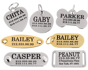 Dog ID Tag Personalized, Engraved Dog Tag, Pet Tag for Dogs, Cat Tag, Dog Tag, Custom Dog Tag, Pet Id Tag Round Bone Heart Dog Nameplate