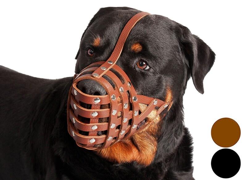 Secure Genuine Leather Basket Dog Muzzle 7 sizes Black Brown