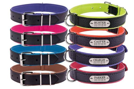 engraved dog collar personalized dog collar leather dog etsy