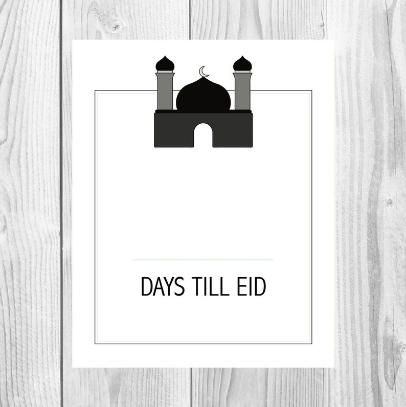 photo about Countdown Printable named Printable Monochrome Eid Countdown, Ramadan Calendar, Ramadan Countdown, Minimalist Print, Scandinavian Artwork, Quranic Verses