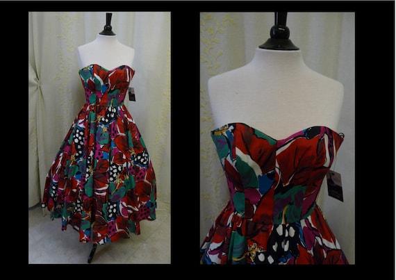 Vintage 1980s Dress - Bold Tropical Floral Print C