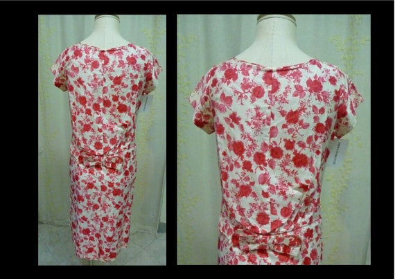 Vintage 1950s Red Rose Floral Print Cotton Shift … - image 2