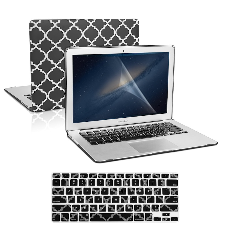 "3 IN 1 Black Quatrefoil Case Keyboard Skin LCD for Macbook Pro 15/""Retina A1398"