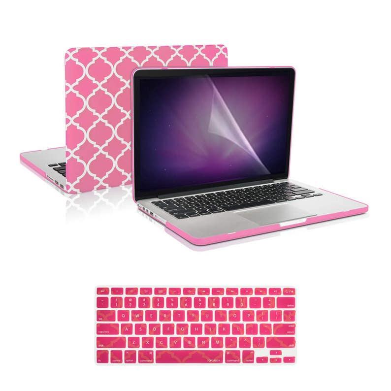 3 IN 1 Quatrefoil / Moroccan Pink Rubberized Hard Case + Keyboard Cover +  Screen Protector for MacBook Pro 15