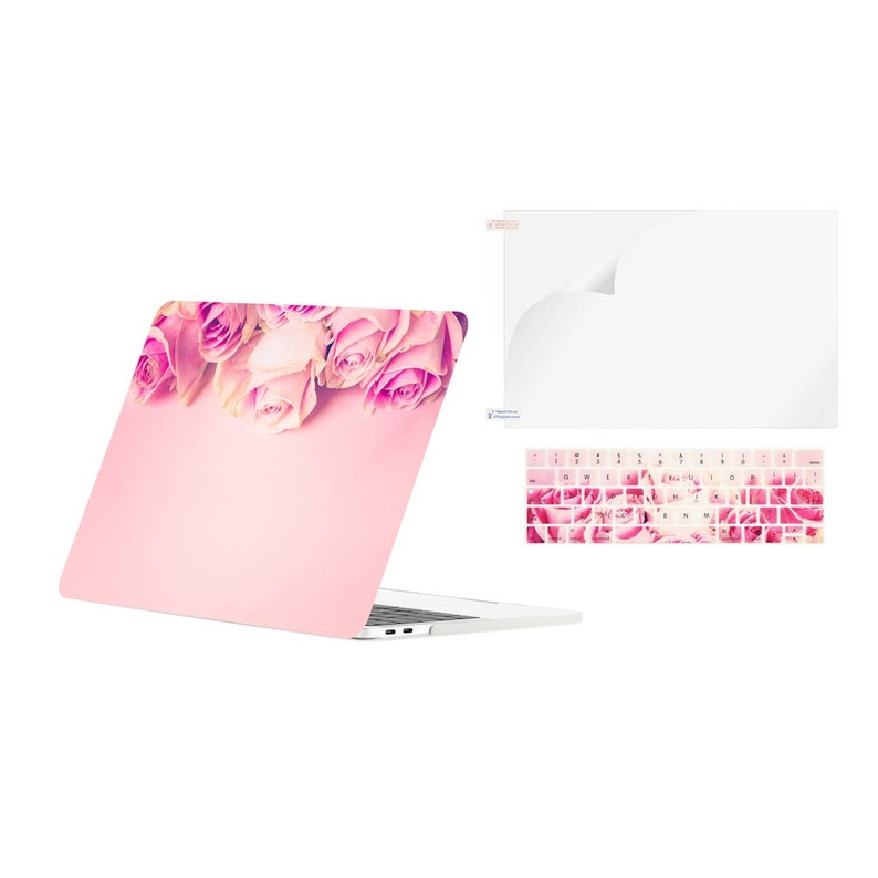 3in1 Graphics Matte Hard Case + Keyboard Cover + Screen Protector for  MacBook Pro 13 with Touch Bar A1989, A1706 (2017,2016,2018)- Pink Rose