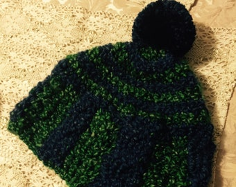 92339a4fa914b Cable Stitched Beanie with Earflaps and Pom Poms Green and Navy Blue