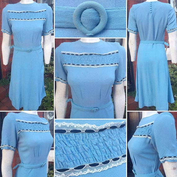 Original 1930s/40s *AS IS* Blue Crepe Dress with C